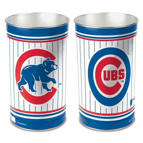 WinCraft MLB Chicago Cubs 15 Waste Basket, Team Color, One Size Chicago Cubs Stained Glass