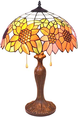 24 Inches Tall Tiffany Style Lamps Sunflower Table Desk Light Stained Glass 16 Inches Wide Lamp Shade Vintage Unique Victorian Lamp