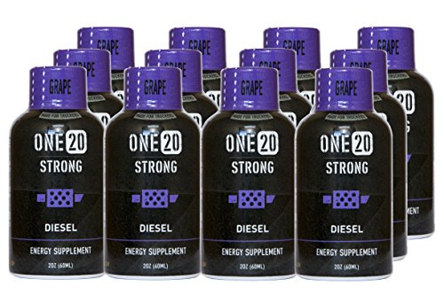 ONE20 Strong Energy Shot Zero Sugar and Calorie Energy Drink, Grape Diesel (12 count, 2 oz Bottles)