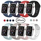 SIRUIBO Band Compatible for Apple Watch 38mm, Soft Silicone Sport Strap Replacement Bracelet Wristband Compatible for Apple Watch Series 2, Series 1, Sport, Edition, S/M Size (8Pack)