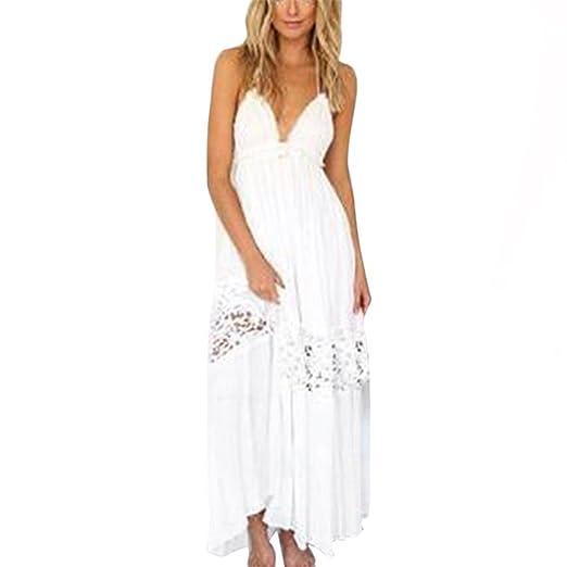 b56d1057261a8d KMG Kimloog Women s Boho Long Dress Sleeveless Summer Backless Beach  Sundress Maxi Dresses ...