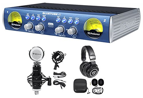Presonus Bluetube DP V2 2-Channel Tube Mic Pre-Amp DP2+Mic+Shockmount+Headphones