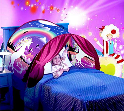 EdenShow Girls Unicorn Dream Bed Tents Princess Deluxe Playhouse Kids Twin Size Play Tents Queen Magical Castle Indoor Decor