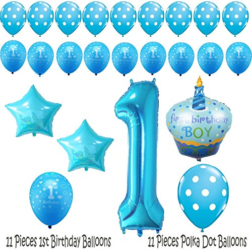 1st Birthday Boy Balloons Set - BONUS - Printable Party Planner and (1st Bday Party Themes)