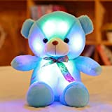 Colorful Glowing Little Bear Doll LED Nightlight Lovely Plush Toy, Luminous Pillow Soft Stuffed Bear Wedding Dress Toy, 18 Inch by MAXYOYO