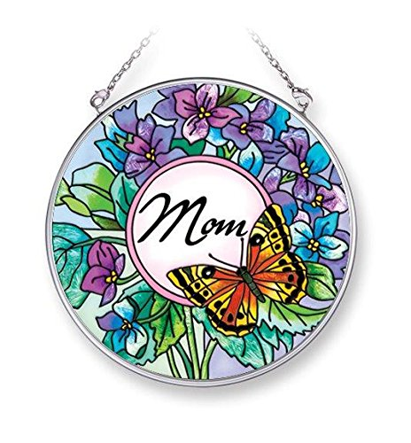 Amia 42064 4-1/2-Inch Hand Painted Glass Mom Circle Suncatcher, Medium, Butterfly and Floral Design