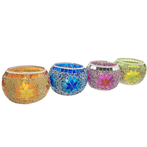 AMINITREE Tea Light Holders Handmade Mosaic Candle holders for Home Decor, Christmas/Wedding/Birthday Party Gifts Pack of 4(Mix)