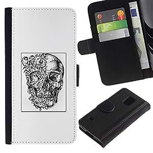 Stuss Case / Funda Carcasa PU de Cuero - Cráneo Cartel Negro abstracto blanco profundo - Samsung Galaxy S5 V SM-G900