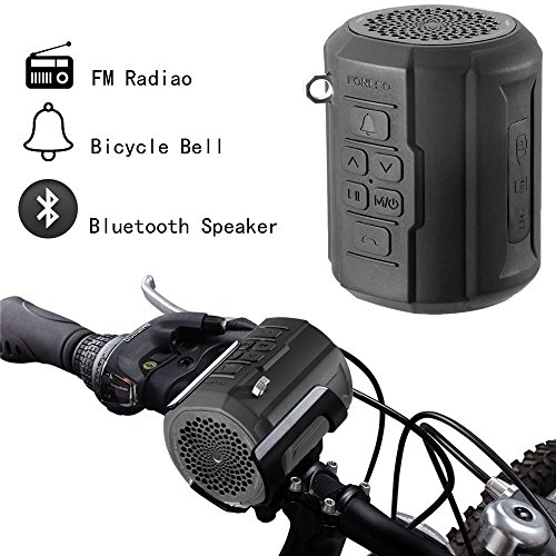 Foneso F041 Bluetooth Speaker, F1 Portable Wireless Player for Outdoor Travel Bicycle Cycling, 6W Strong Passive Radiator with Remote Controller and Metal Hook Loop