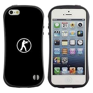 Fuerte Suave TPU GEL Caso Carcasa de Protección Funda para Apple Iphone 5 / 5S / Business Style Computer Game Go Fps Shooter