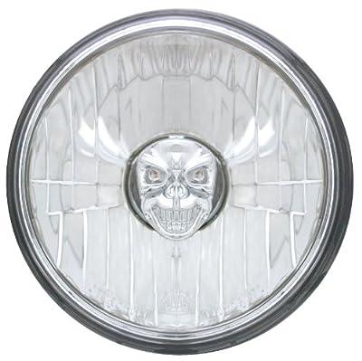 "Adjure T50100-SR 5-3/4"" Diamond Cut Skull Bulb Cover Motorcycle Headlight with H4 Bulb"