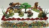 Lion King Birthday Cake Topper Set Featuring Mufassa, Zazu, Pumbaa, Scar, Timon, Nala, Simba and Decorative Rocks, Safari Grass, and Tree of Life Themed Pieces