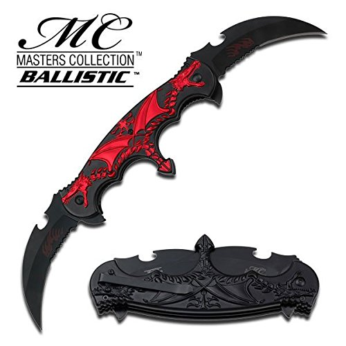 Dual Blade Knife (MC MASTERS COLLECTION DRAGON DUAL BLADE SPRING ASSISTED KNIFE (RED))