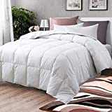 Airytex All-Season Down Comforter 100% Cotton Hypoallergenic Quilted Feather Comforter with Corner Tabs. Lightweight Goose Down Duvet Insert or Stand-Alone Comforter - Queen/Full 90x90