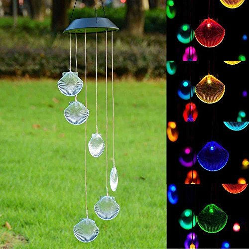 ISFORU LED Solar Seashell Wind Chime, Changing Color Waterproof Solar Seashell Wind Chimes Hanging Lantern Light for Home Party Bedroom Night Garden Decoration]()