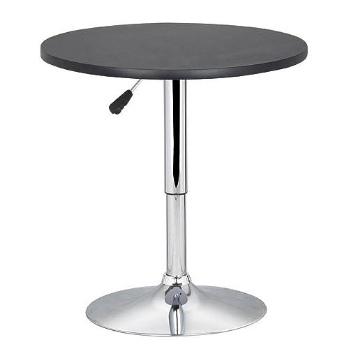 Popamazing Adjustable Height Round Bristo Bar Pub Table 360 Swivel MDF Top  70 90 Cm