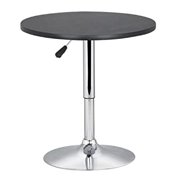 Adjustable Height Round Table.Yaheetech Adjustable Height Round Bristo Table 360 Swivel Mdf Top 70 90 Cm High Table Black Perfect As Coffee Garden Table Balcony Or Terrace Table