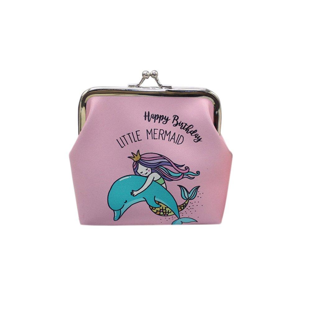 Originaltree Retro Cartoon Mermaid Faux Leather Kiss Lock Coin Purse Wallet Women Girl Gift White