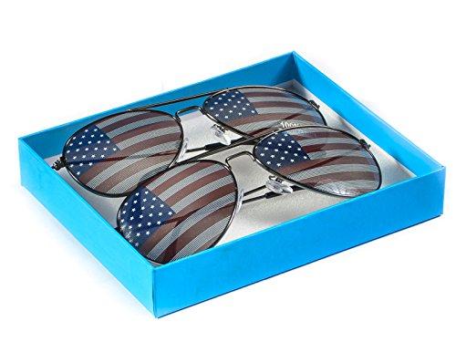 Goson American Flag Mirror Aviator Novelty Decorative Sunglasses (2 Black Combo in Blue Gift - Usa Aviator Sunglasses