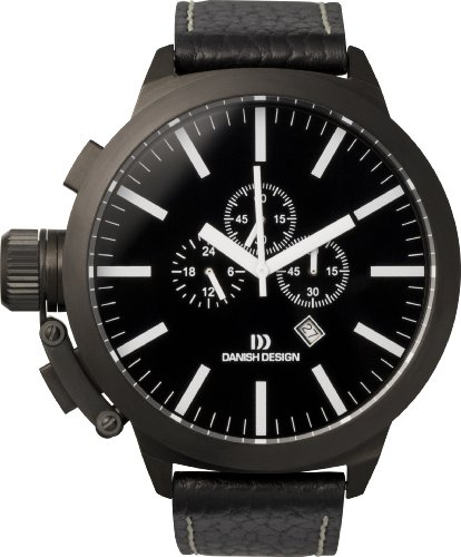 Danish Design Men's Quartz Watch with Black Dial Chronograph Display and Black Leather Strap DZ120079 ()