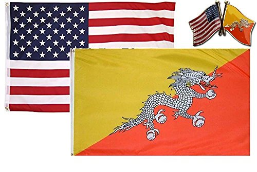 K's Novelties Set of 2 Flags with Matching Pin USA & Bhutan