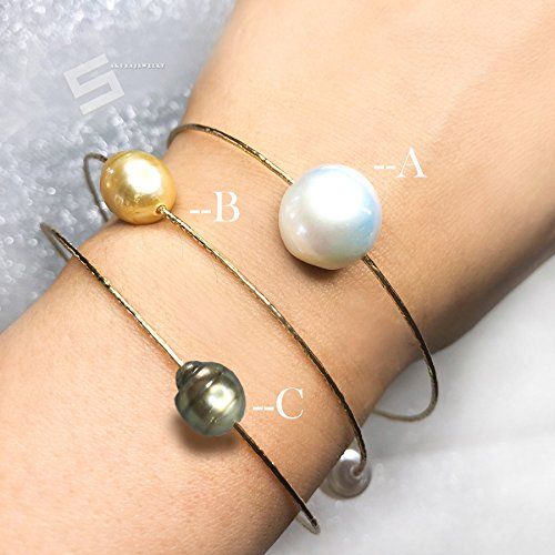 Cultured South Sea Pearls Bangle, Multi Colored South Sea Pearls In 14KT Gold Filled Bangle, Large Kasumi Pearls & Gold Stackable Bracelet