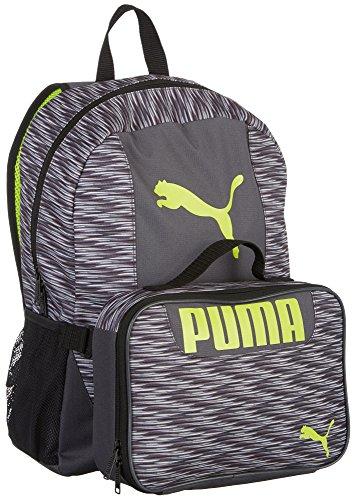 PUMA Big Kids Lunch Box Backpack Combo, Gray/Green, OS -