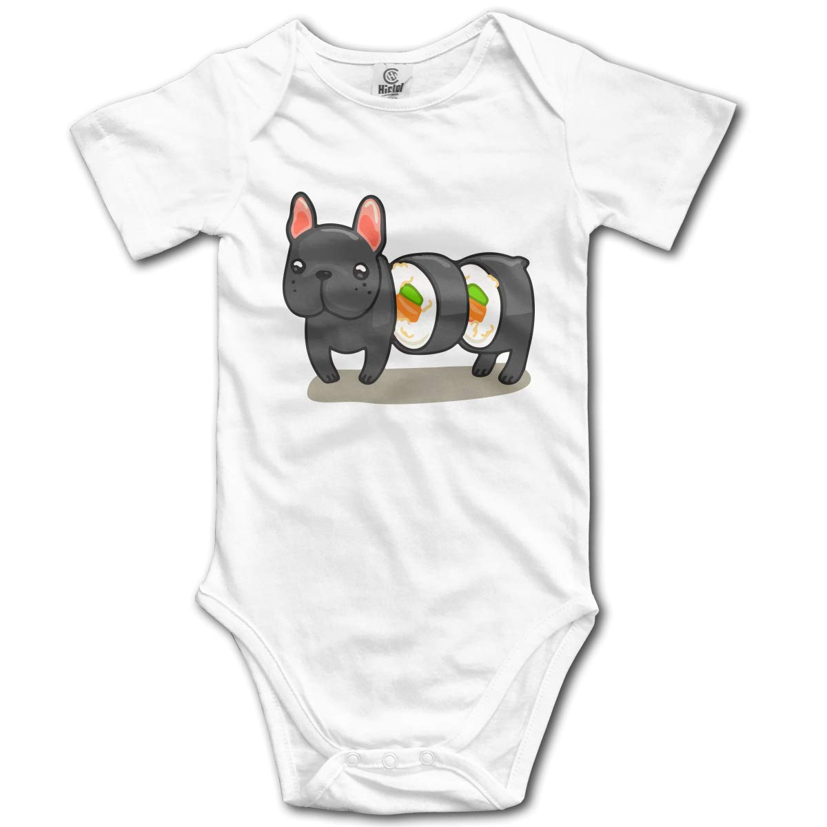CDHL99 Frenchie Sushi Roll Unisex Solid Baby Short Sleeve Jumpsuit Outfit 0-2T