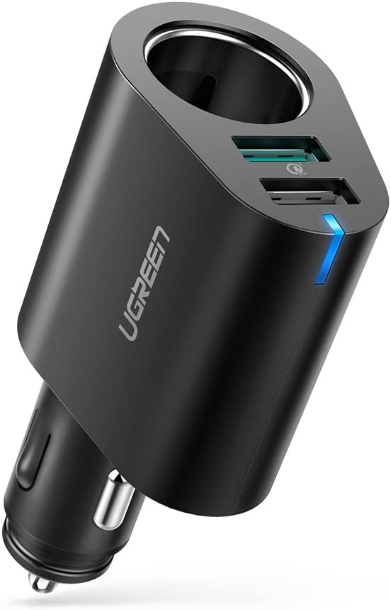 UGREEN Cargador de Coche con 60W 12V/24V Encendedor de Cigarrillo, Cargador Coche con 30W Dual iSmart USB Puerto(QC 3.0 y 5V/2.4A), Cargador de Mechero para Grabadora de Conducción,Telefono,Tablet,MP3