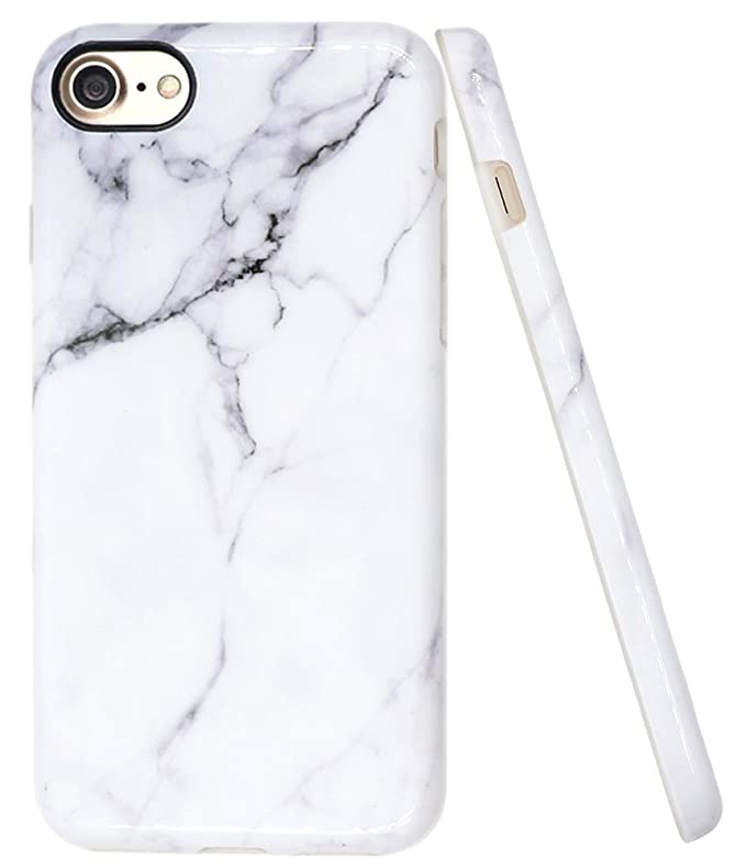 "I Phone 7 White Marble Case, I Phone 8 Marble Case, A Focus Imd Design Stone Pattern Texture Soft Flexible Tpu Slim Fit Cover Case For I Phone 7 / I Phone 8 4.7""   Glossy Gray 2 by A Focus"