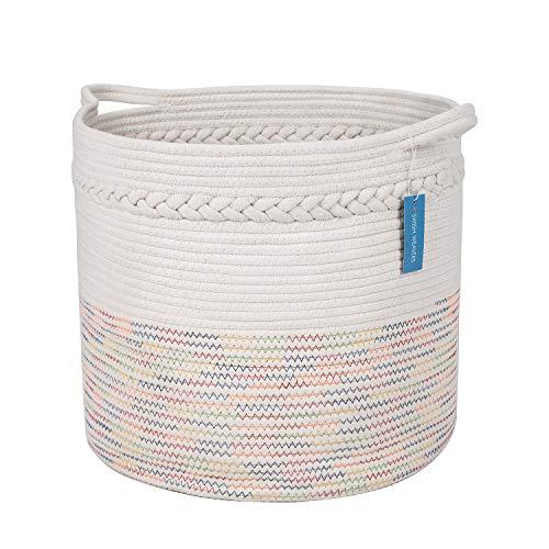 SwishWeavers Large Cotton Rope Basket with Handles 17
