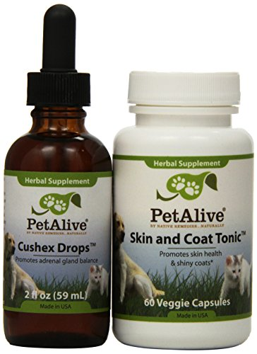 Pet Alive 352582 Cushex Drops and Skin & Coat Tonic Combo Pack