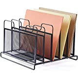 ProAid Mesh Office Desktop Organizer Office Accessories Sorter File Folder Desk Organizer with 5 Vertical Sections Holder, Black