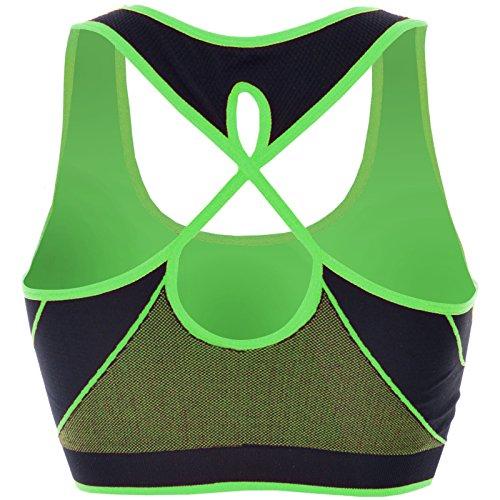 BEZLIT - Sujetador deportivo - Sin tirantes - Básico - Sin mangas - para mujer Verde
