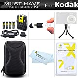 Must Have Accessories Kit for Kodak PIXPRO FZ43, FZ41, EasyShare C1530 Digital Camera Includes USB 2.0 Card Reader + 4AA High Capacity Rechargeable NIMH Batteries and Rapid Charger + Case + More