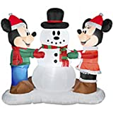 Gemmy Industries Airblown Mickey and Minnie with Snowman Christmas Decoration Multicolored Nylon