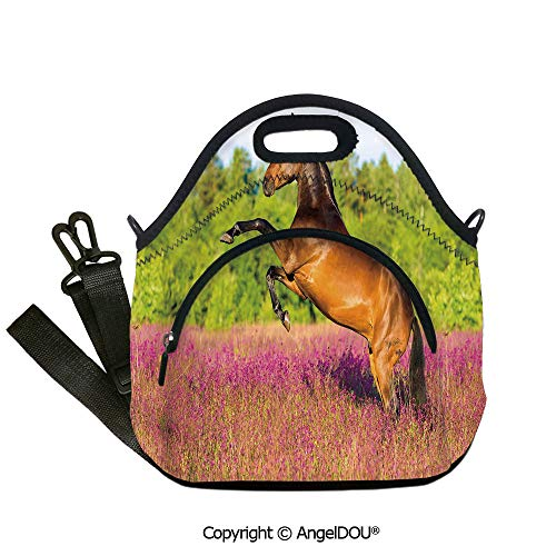 AngelDOU Horse Decor Fashion shoulder Neoprene lunch bag Strong Bay Horse Rearing Up in Blossoming Rural Summer Field Trees Outdoor Travel Picnic Beach Party.12.6x12.6x6.3(inch)]()