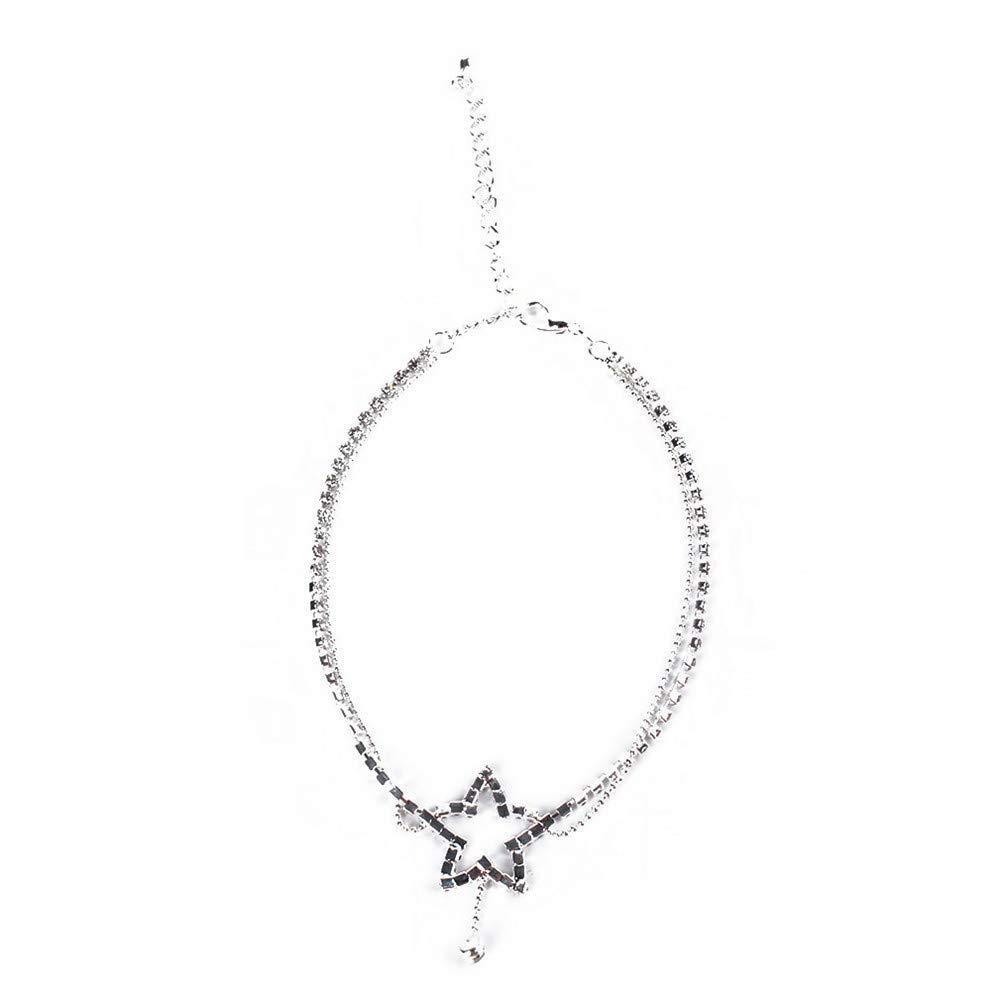 /Étoile Ellepigy Femmes /Él/égant Cristal Simple Dangle Cheville Fille Charme Strass Cheville Bracelet Cha/îne De Pied