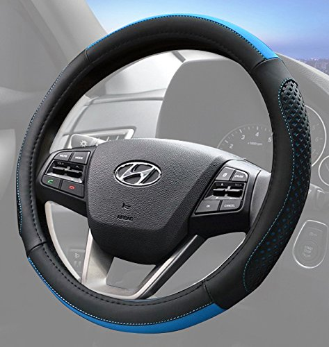 Car Steering Wheel Cover Black with Blue Accent Stitching OdorlessComfort Grip