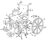 Drive Replacement Wheelchair Parts (All Parts Sold Separately) Parts for TR16, TR18, TR20 - Poly-Fly Wheelchair/Flyweight Transport Chair Combo - 15. Footrest Release Lever - Left