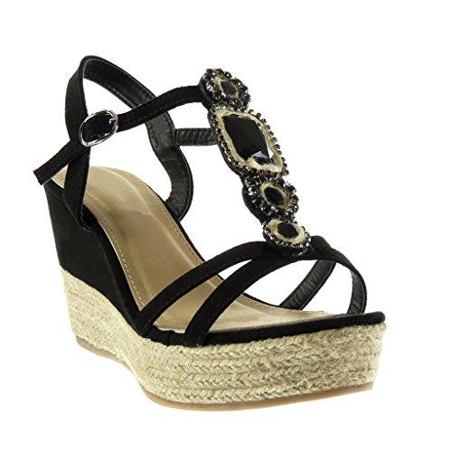 Angkorly - Chaussure Mode Sandale Espadrille salomés plateforme femme bijoux lanière corde Talon compensé plateforme 9.5 CM - Noir