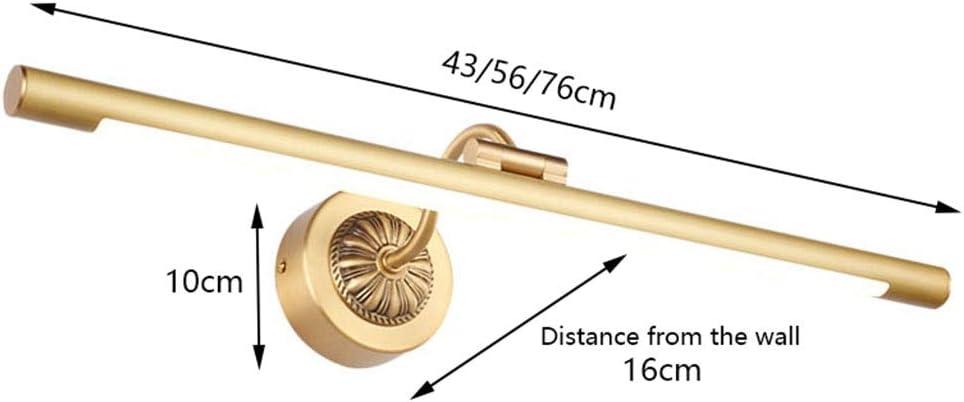 Spiegellampen, Spiegel Frontleuchte LED Schwarz Gold Wandleuchte Badezimmer Feuchtigkeitsbeständige Linse Lampe Schminktisch Schlafzimmer Wandleuchte,Lampe (Color : A-56cm) B-43cm