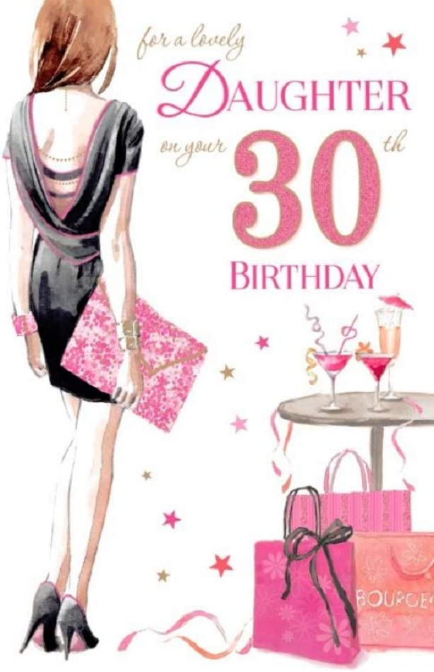 Lovely Daughter 30th Birthday Card Gr 830082 Black Dress And Pink Handbag Amazon Co Uk Office Products