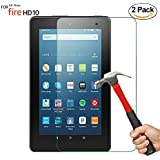 [2 Pack] ZTOZ All New HD 10 Tablet Tempered Glass Screen Protector (7th Generation,2017 Release)- [LifeTime Replacement Warranty Service][Anti-Scratch][Anti-Fingerprint][Bubble Free]