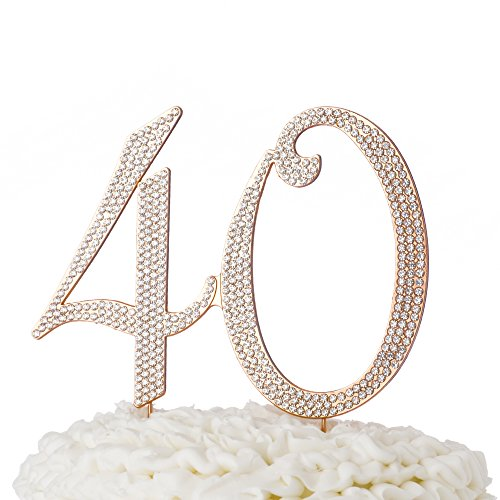 40th Anniversary Party Favors - Ella Celebration 40 Cake Topper for 40th Birthday or Anniversary Rose Gold Number Party Supplies and Decoration Ideas (Rose Gold)