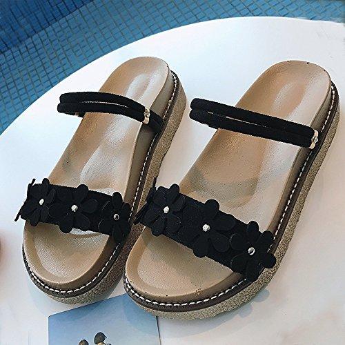 Sandalias Amazing Verano para Mujer Zapatillas de Playa de Uso Doble (Color : Marrón, Tamaño : EU37/UK4.5-5/CN37) Negro