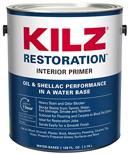 - KILZ Restoration Maximum Stain and Odor Blocking Interior Latex Primer/Sealer, White, 1-gallon