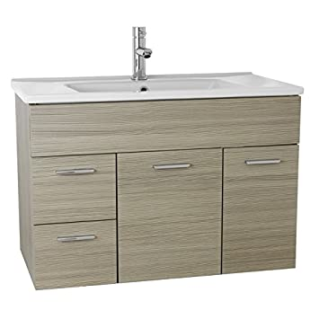 Grey Oak ACF LOR09 Loren Bathroom Vanity Set with Wall Mounted 33
