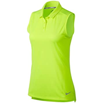 Nike New Women DRI FIT Sleeveless Golf Polo Volt/Flat Silver X ...
