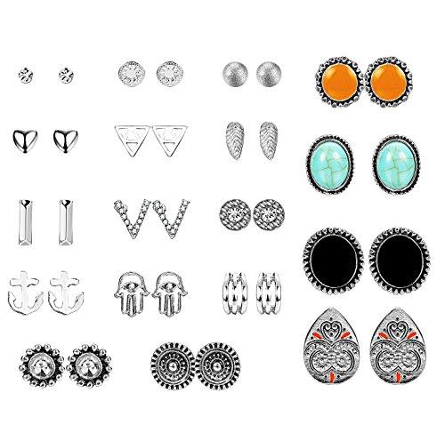 Jstyle 18Pairs Multiply Stud Earrings for Women Girls Retro Cute Vintage Earrings Set Mix Style Card Pack - Vintage Pin Earrings